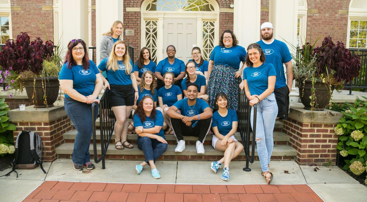 a group of case western reserve social work students wearing their change agent t shirts