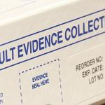 Image of box titled sexual assault evidence collection kit with text evidence seal here in blue dashed border, with sticker label with text reorder no: RE-3ND, exp. date: Jan 31st, 2018, Lot no: 14808