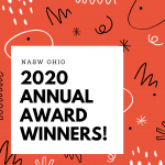 """NASW Ohio 2020 Annual Award Winners!"" on a confetti-filled red background"