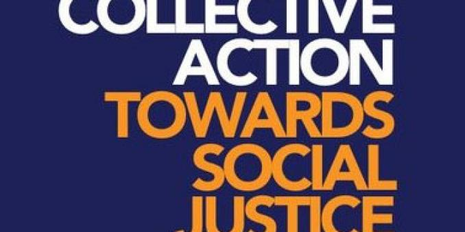Image of logo labeled with text Collective Action, in white, and text Toward Social Justice, in orange, against royal blue background