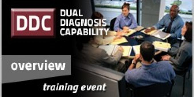 Image for DDC (within red box), dual diagnosis capability, overview training event, with black and grey background, with picture on right of five business professionals around a desk working with documents