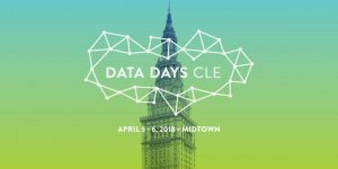 Image of poster with text data days cle, surrounded by white dots and lines arranged in triangle shaped, and text april 5-6, 2018, midtown, all in white on green and blue background, with an image of the top half of terminal tower in the background