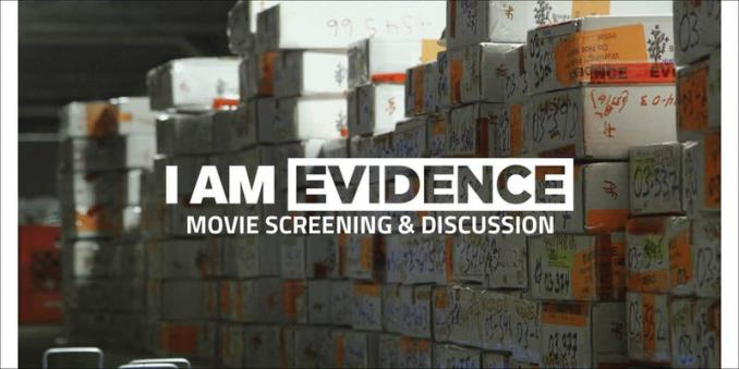 Boxes of untested sexual assault kits with the movie name I AM EVIDENCE