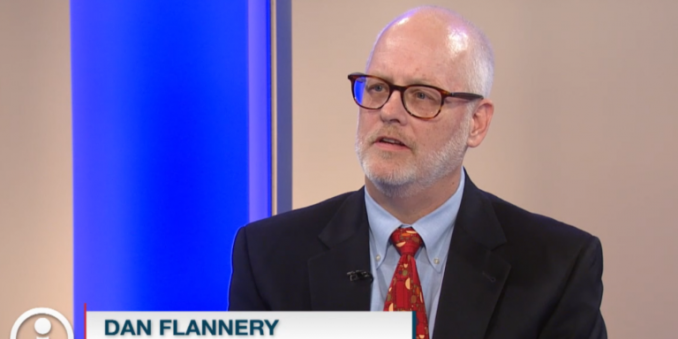 Image of Dr. Daniel J. Flannery as guest on Ideas, with caption in left corner with text Dan Flannery, case western reserve university, in blue and white, with a letter i in a circle