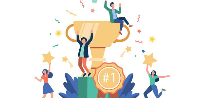 Illustration of people celebrating around a trophy