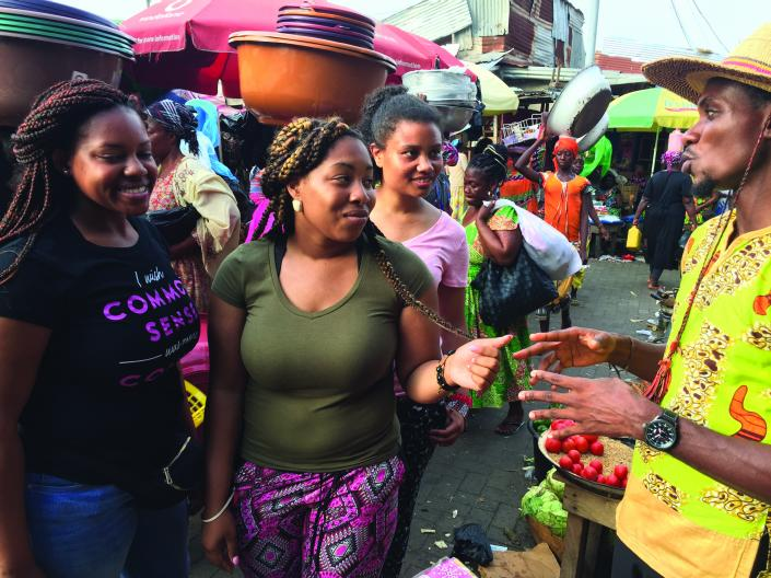 Students in Ghana market