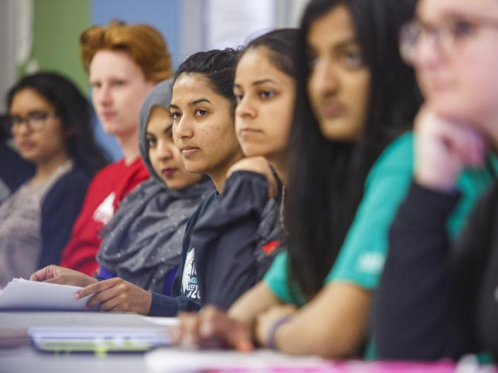 Students looking intently in class