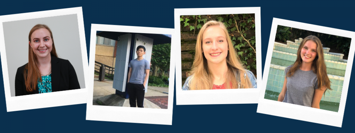 Four SOURCE student researchers. Pictured left to right: Claire Jeffress, Shawn Yoshida, Katherine Jordan, Kassanndra Blank
