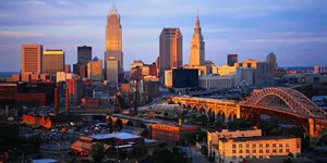 Cleveland, Ohio, skyline at night