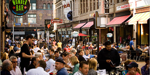 East Fourth Street restaurants and shops in downtown Cleveland