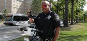 University Police Office Mark Chavis keeps campus safe.