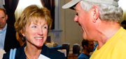President Barbara R. Snyder talks with Case for Community Day volunteers