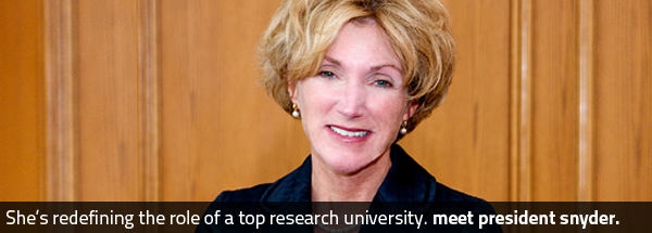 She's redefining the role of a top research university. Meet University President Barbara R. Snyder.