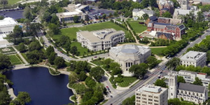 Aerial view of University Circle near Euclid Avenue and East Boulevard