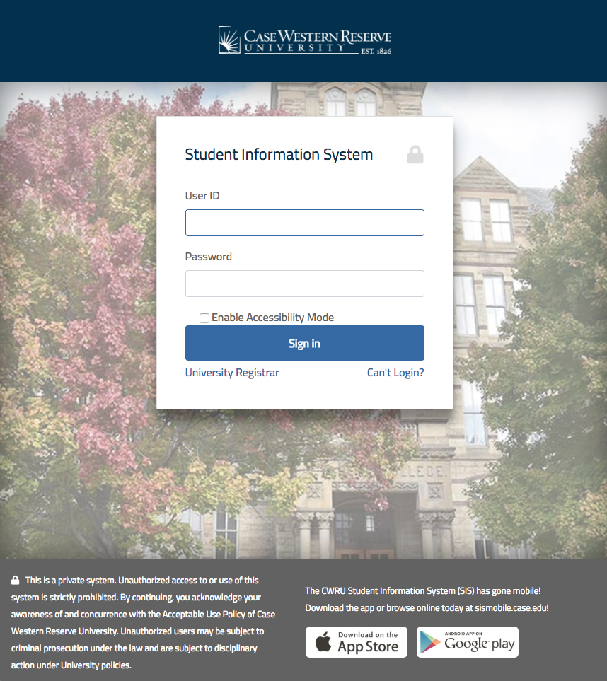 Sign In | Student Financial Services | Case Western Reserve