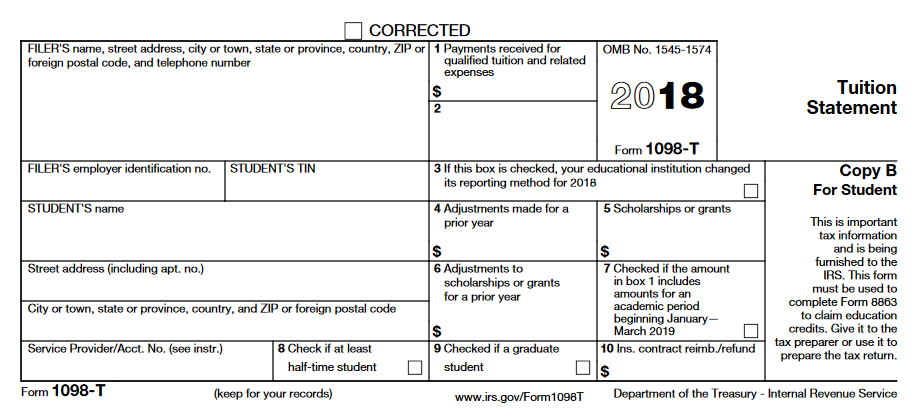 Changes To 2018 Irs Form 1098 T Student Financial Services Case