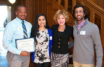Three Civic Engagement Scholars at a Reception with Case Western Reserve University President, Barbara Snyder