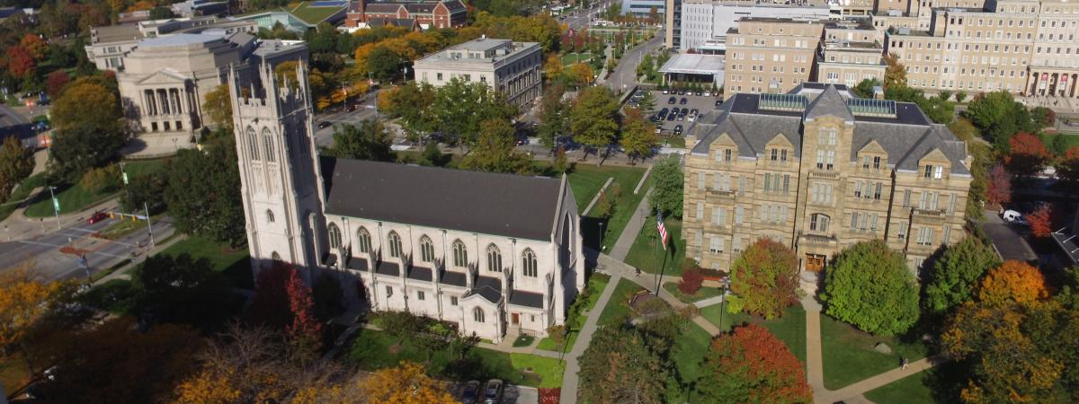 Aerial view of Adelbert Hall and Amasa Stone Chapel