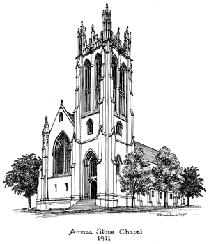 Drawing of Amasa Stone Chapel, 1911