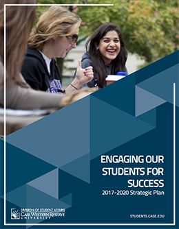 Cover of 2017-2020 Strategic Plan, Engaging Our Students for Success, showing students talking to each other joyfully.