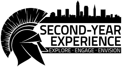 "Identity mark for the CWRU second-year residential experience, showing the Spartan helmet, Cleveland skyline, and the text ""Second Year Experience - Explore, Engage, Envision"""