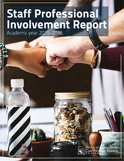 Staff Professional Involvement Report, Academic year 2015-2016 cover with close-up of fists bumping