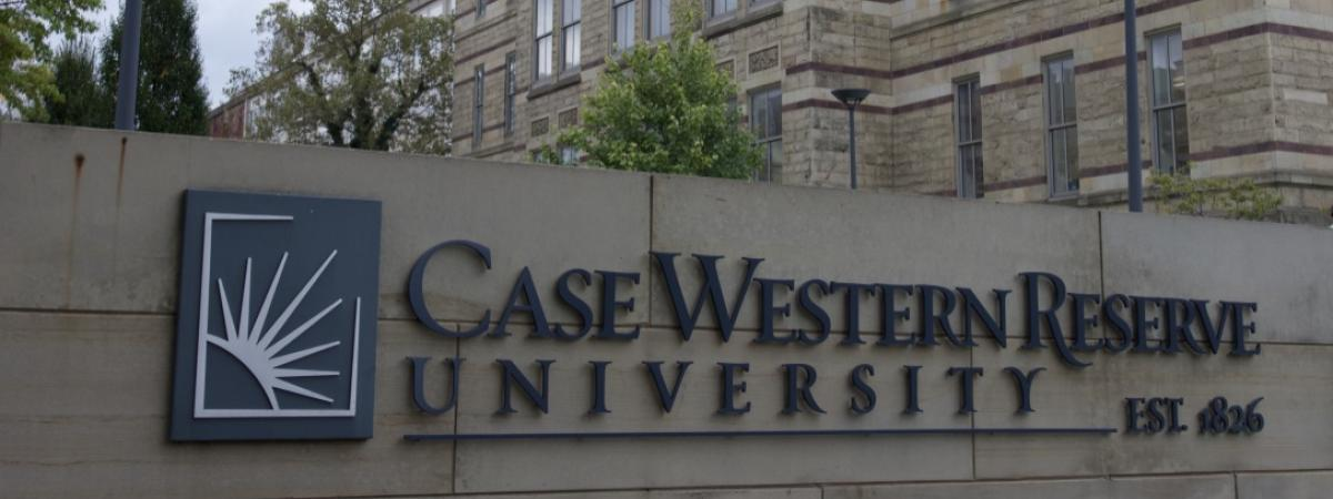Case Western Reserve University sign outside Adelbert Hall