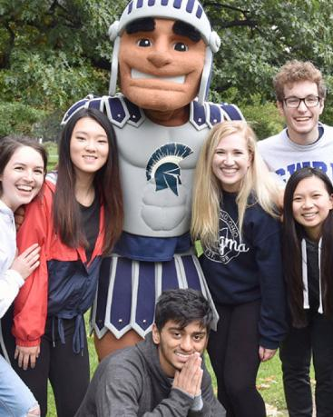 The Spartan Mascot with a group of students