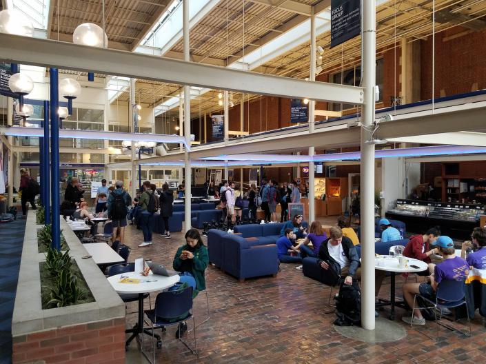 Students gather in the Thwing Atrium at Case Western Reserve University