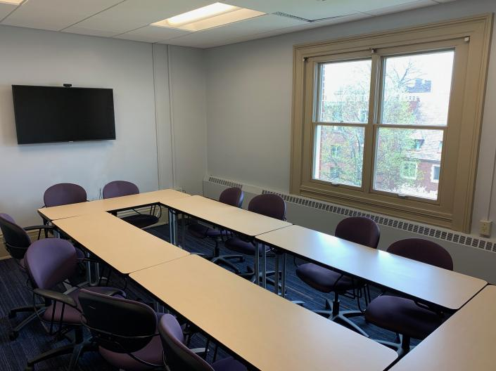 Meeting Room 324 in Thwing Center at Case Western Reserve University, empty