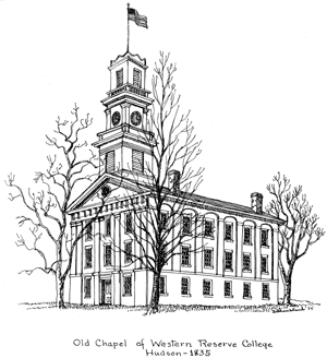 Drawing of Old Chapel of Western Reserve College, Hudson - 1835