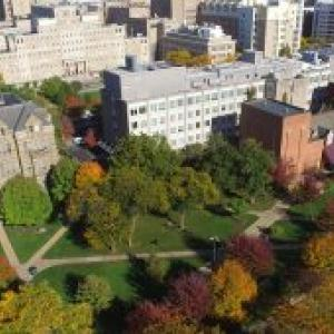 aerial view of CWRU campus in the fall