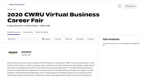Handshake page for the 2020 CWRU Virtual Business Career Fair