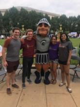 sparty at the student activities fair