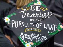 close of view of a decorated graduation cap