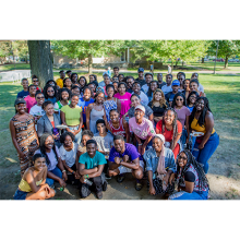 "group photo from 2019 black student union ""Black to School BBQ"""