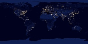 light map of Earth at night