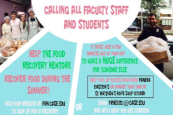 Calling all faculty staff and students, help the food recovery network, recover food during the summer