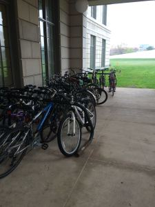 Bikes locked up outside the library