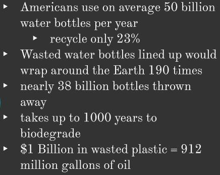 American use on average 50 billion water bottles per year, recycle on 23%, Wasted water bottles lined up would wrap around the Earth 190 times, nearly 38 billion bottles thrown away, takes up to 1000 years to biodegrade, $1 Billion dollars in wasted plastic = 912 million gallons of oil