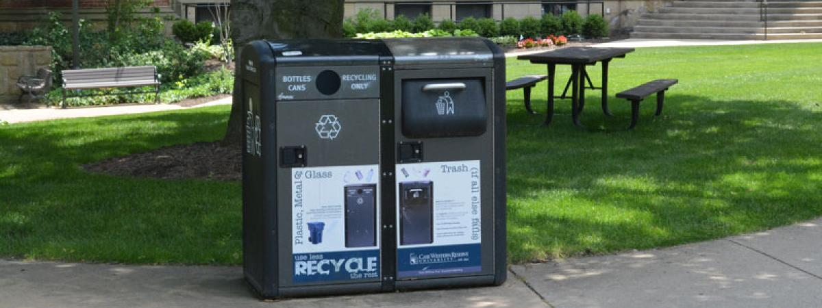 Solar-powered waste receptacle on campus