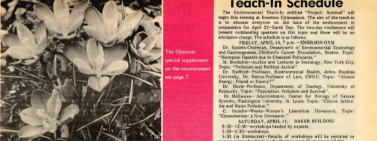 headline of April 1970 environmental supplement of Observer