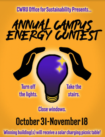 poster of hands over light bulb for energy reduction contest