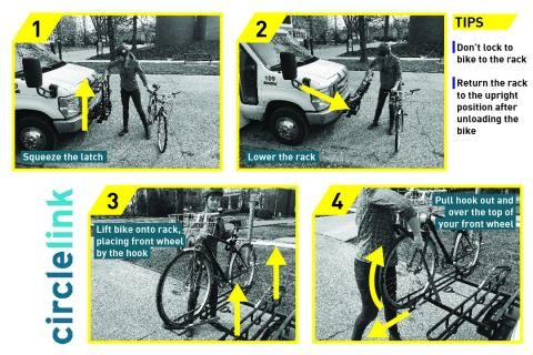 directions for how to load bike onto blue link shuttle bus
