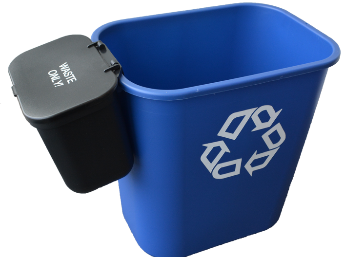 "Image shows a blue deskside recycling bin with a black ""waste only"" sidecar."