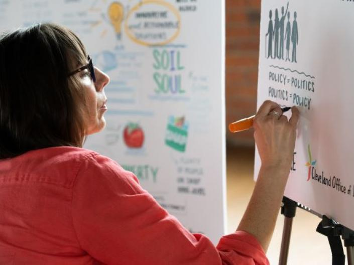 Artist Creating Visual at Convening of Ideas +Resources