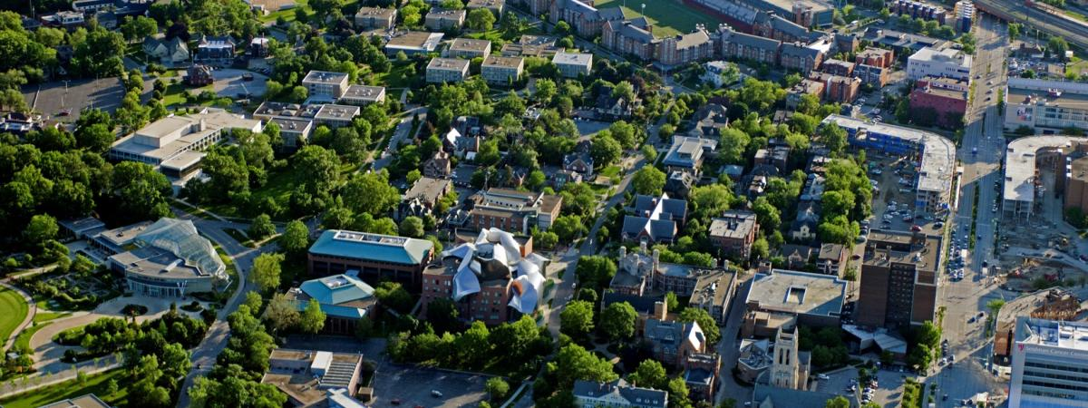Aerial view of the CWRU campus.