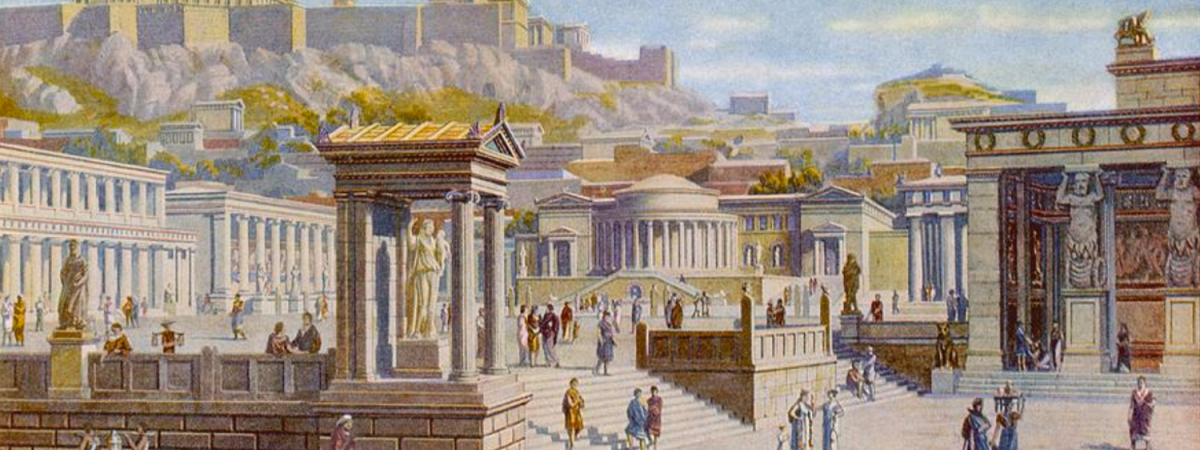 A drawing of Agora, courtesy of the Mary Evans Picture Library.