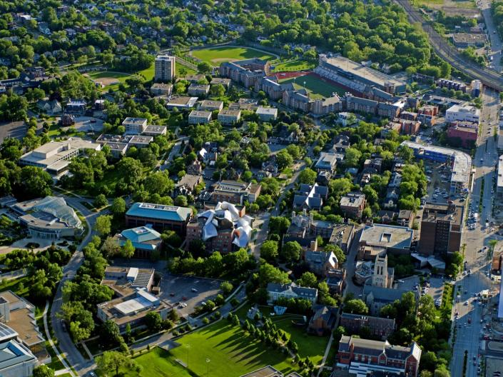 Aerial view of CWRU campus