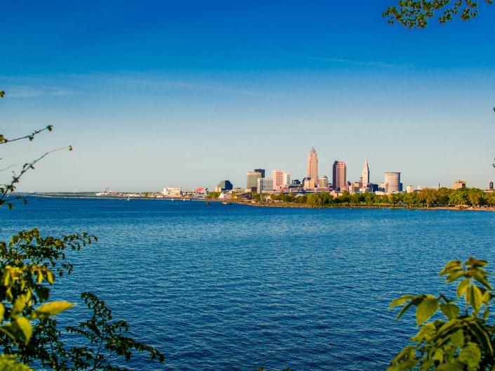 The Cleveland skyline across Lake Erie